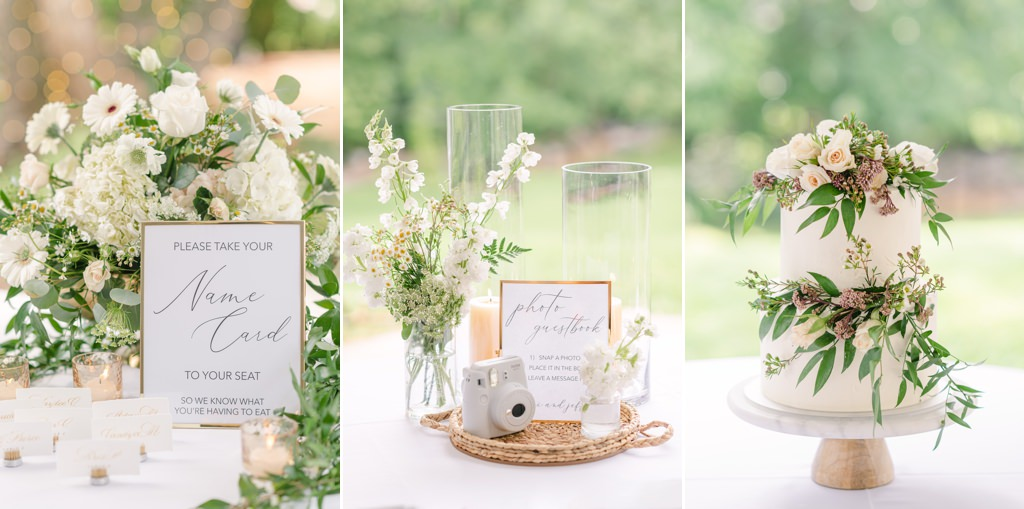 Wedding decor photo collage. Table signs and the wedding cake.