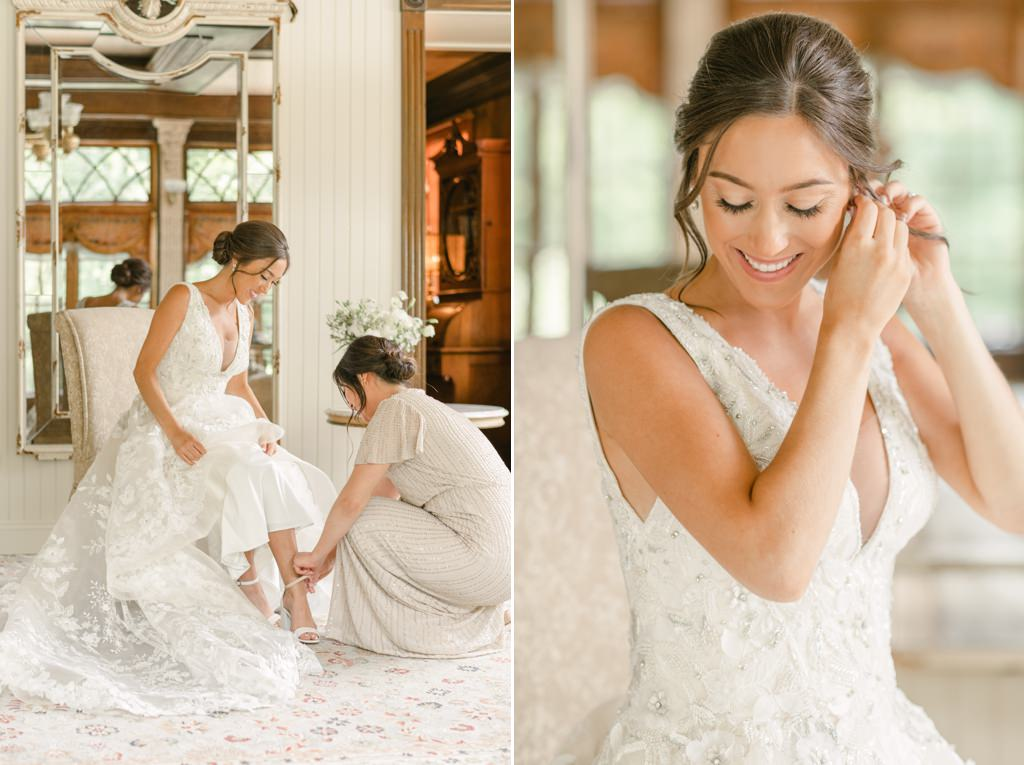 A bride putting on her shoes and earrings before her Moonstone Manor wedding.