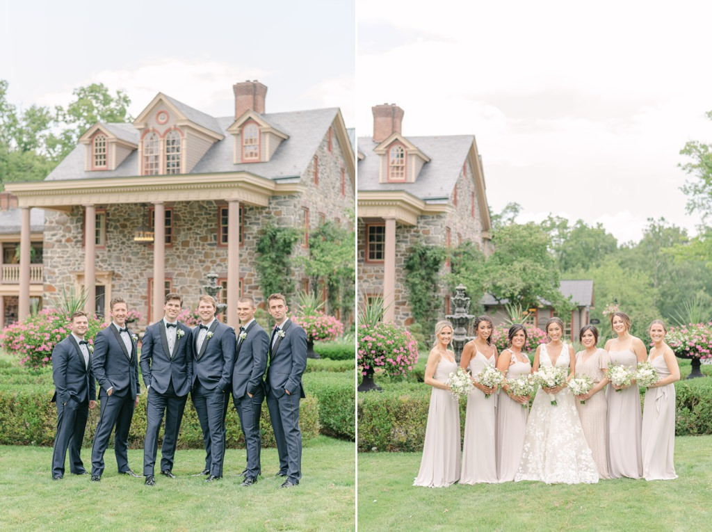 Bridesmaids and groomsmen posing in front of Moonstone Manor