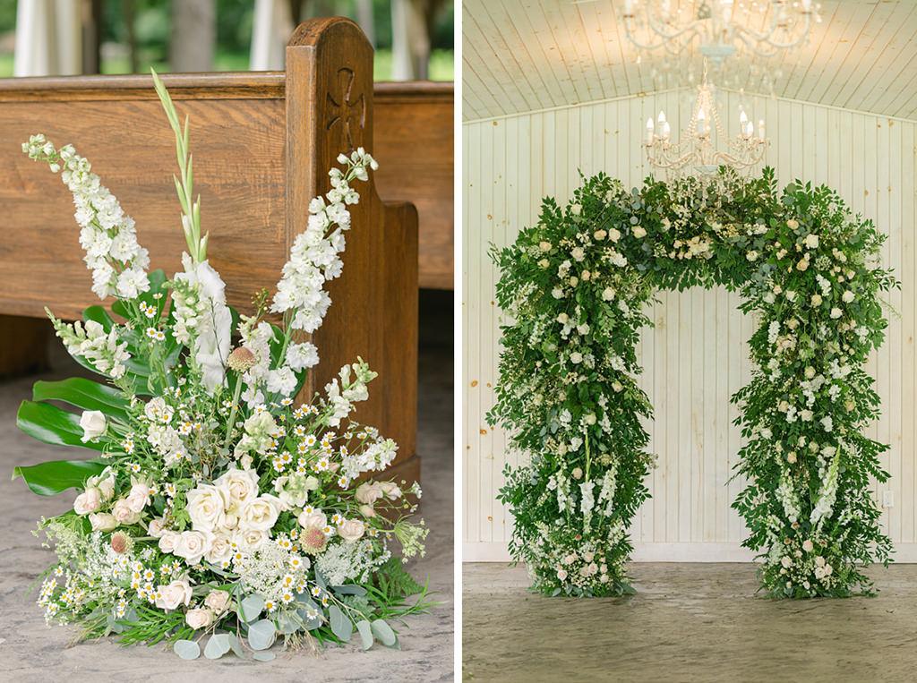 Wedding ceremony flower details. A floral arch
