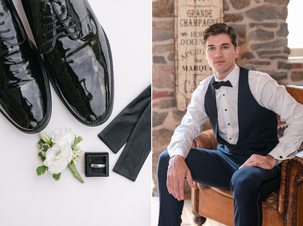 A photos of the groom and his shoes and wedding ring.