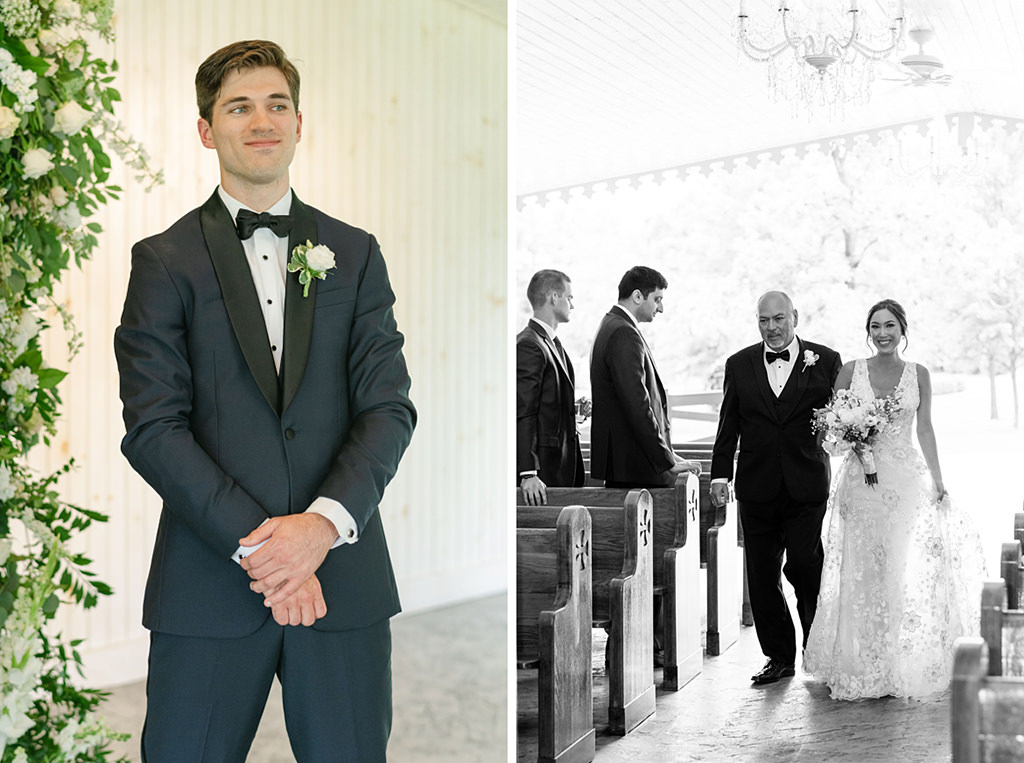 A groom watching the bride walk down the aisle at their wedding